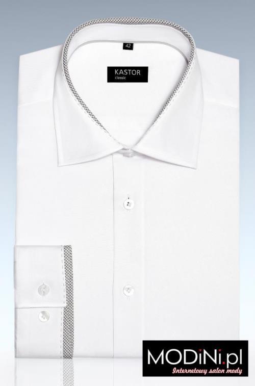 Koszula biała z szarą fastrygą