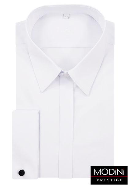 008249ff7bf890 Biała koszula na spinki z krytą plisą Kastor | Sklep Internetowy ...