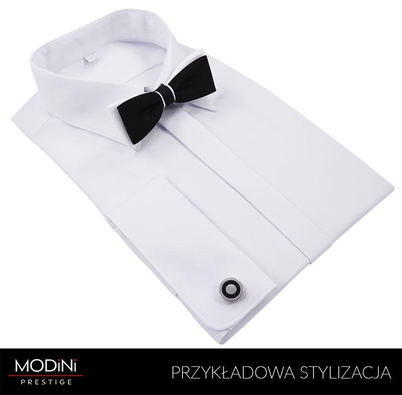 Biała koszula na spinki z krytą plisą Kastor