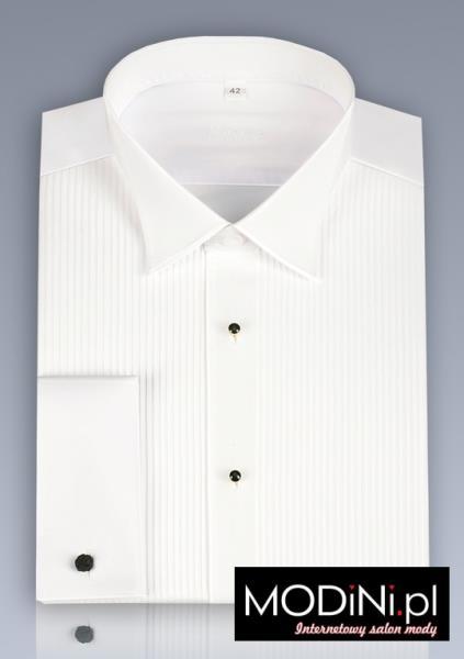 Biała koszula smokingowa Kastor z plisowanym przodem i łamanym kołnierzem