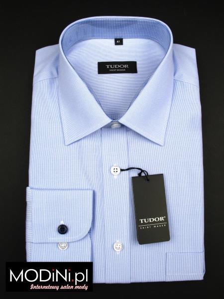 Błękitna koszula Tudor z lazurowo - białym kontrastem