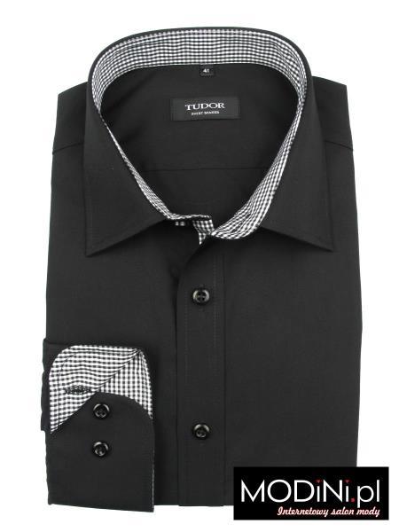 Czarna koszula slim Tudor z biało-czarnymi kontrastami