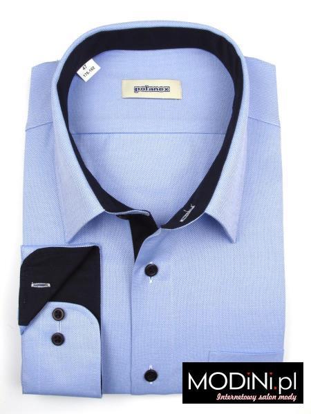 Błękitna koszula polanex z granatowymi kontrastami