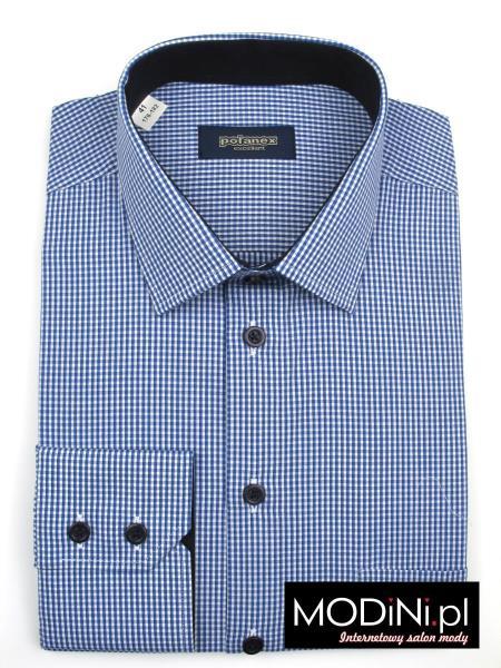 Koszula męska w niebiesko – białą kratkę Polanex