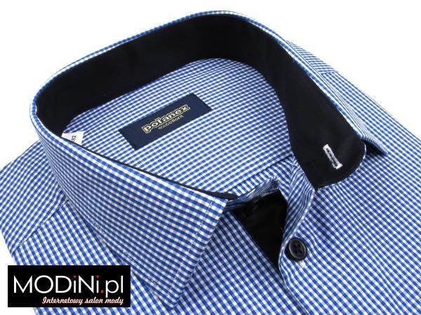 Koszula niebiesko - biała kratka z kontrastami