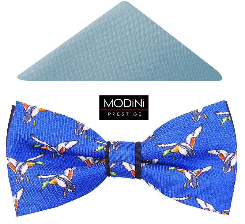 Niebieska mucha męska w kaczki A112