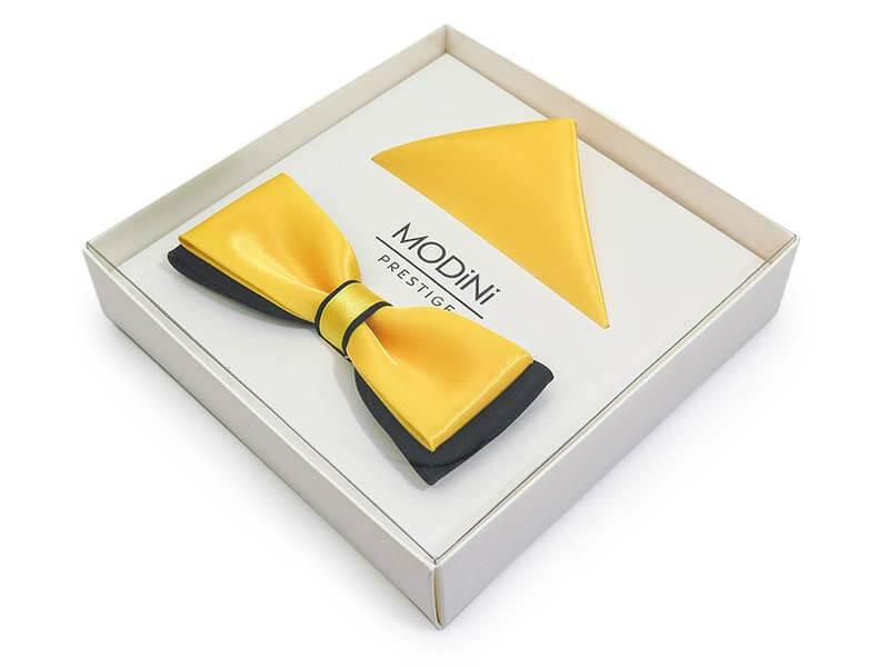 Żółto-czarna mucha męska slim B24