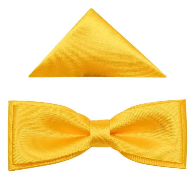 Żółta mucha męska SLIM z poszetką B35