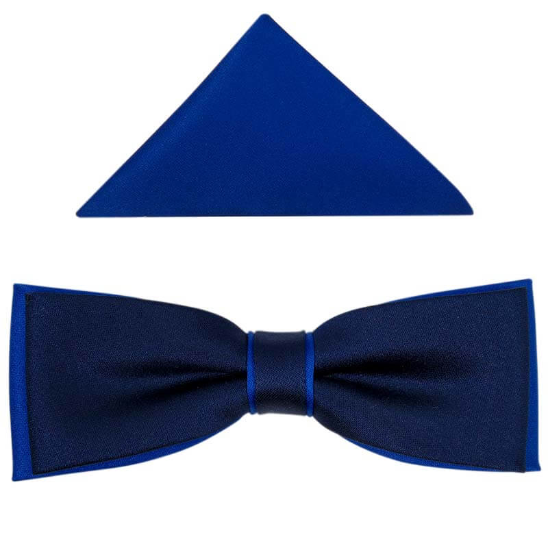 Granatowo-niebieska/kobaltowa muszka slim z poszetką B37