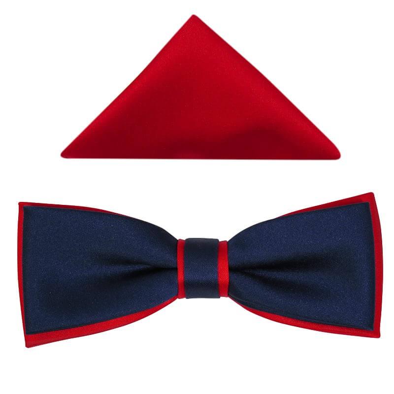 Granatowo-Czerwona Mucha Męska SLIM B46
