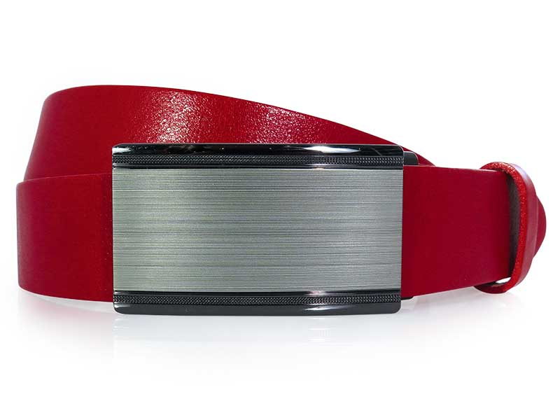 Czerwony męski pasek z automatyczną klamrą KMG20C
