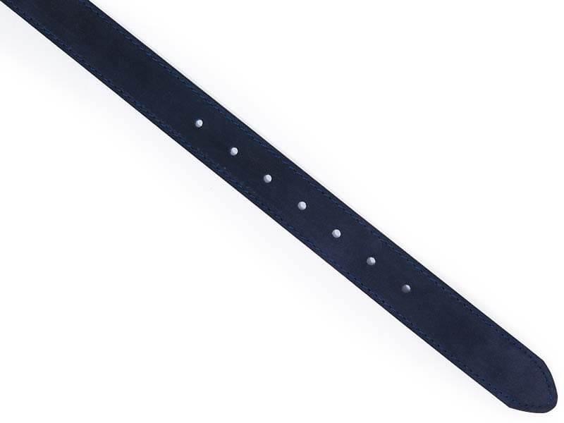 Granatowy nubukowy pasek z niebieskimi przeszyciami KMG43