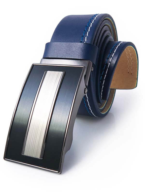 Granatowy męski pasek z niebiesko-białymi przeszyciami - automatyczna klamra KMG45