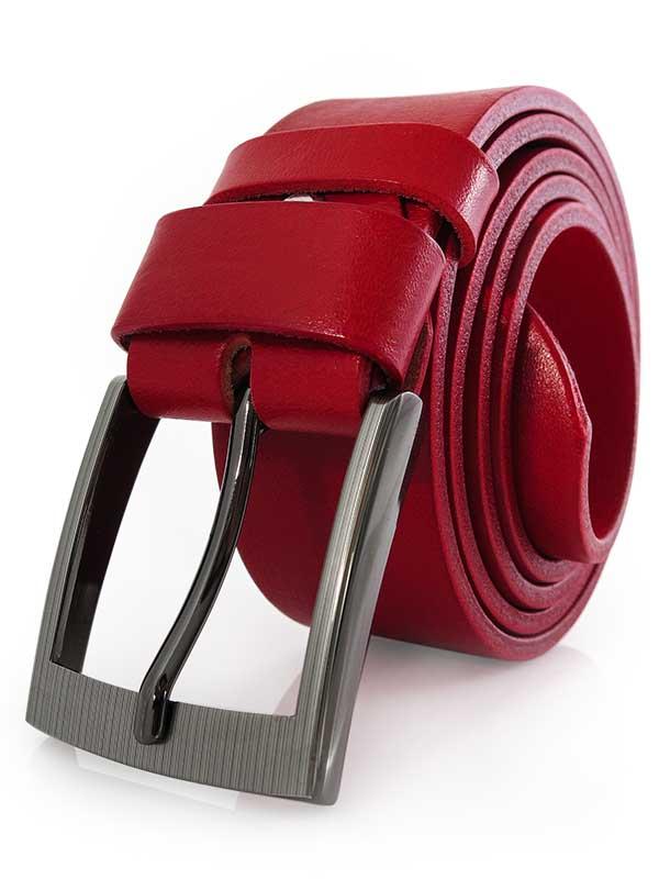 Czerwony męski pasek do jeansów KMG56