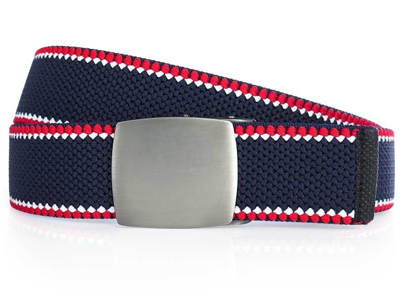 Granatowy z czerwonymi białymi paskami elastyczny pasek do spodni z automatyczną klamrą PT3