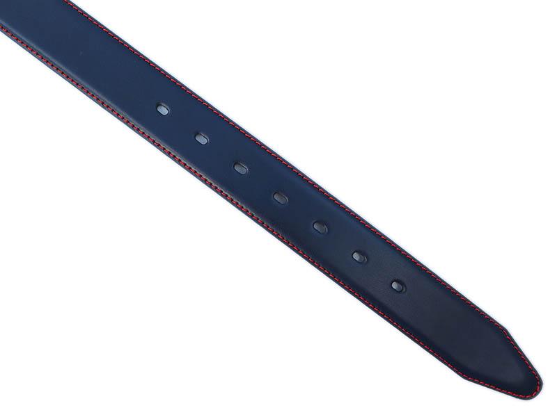 Granatowy pasek skórzany z czerwonym przeszyciem P12