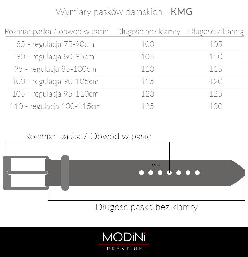 paski damskie - tabela rozmiarów