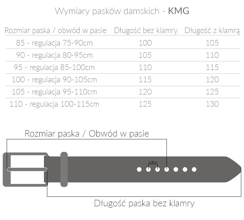 Czarny pasek damski - skóra węża KMG - PD6