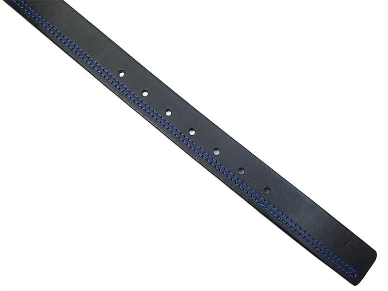 Czarny pasek z niebieskim przeszyciem KMG12