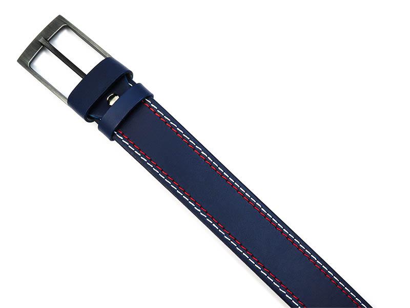 Granatowy pasek męski do jeansów z białym i czerwonym przeszyciem KMG17