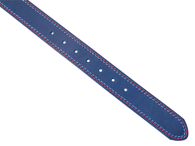 Granatowy pasek męski z błękitnym i czerwonym przeszyciem KMG21
