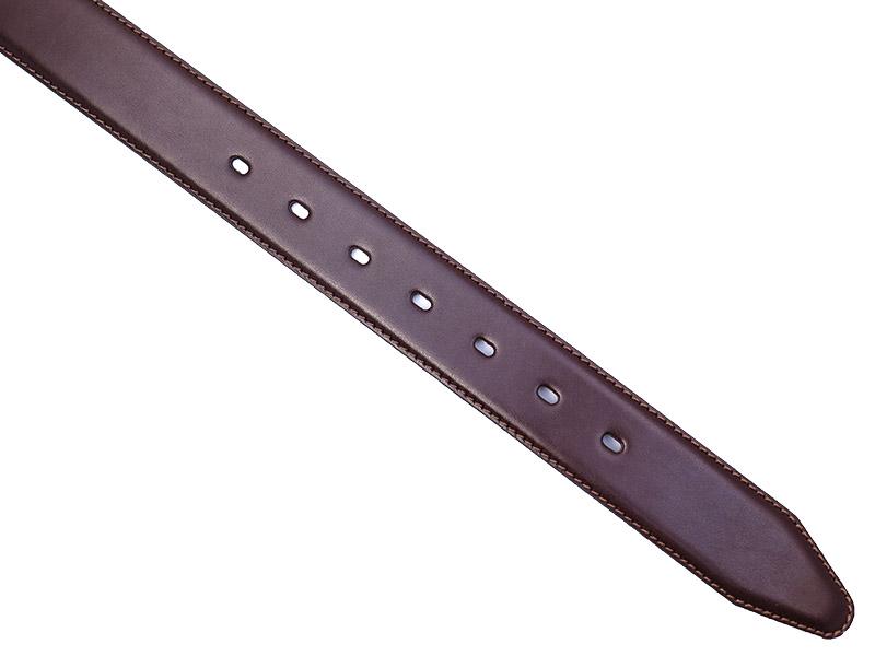 Brązowy pasek do spodni z przeszyciami P43