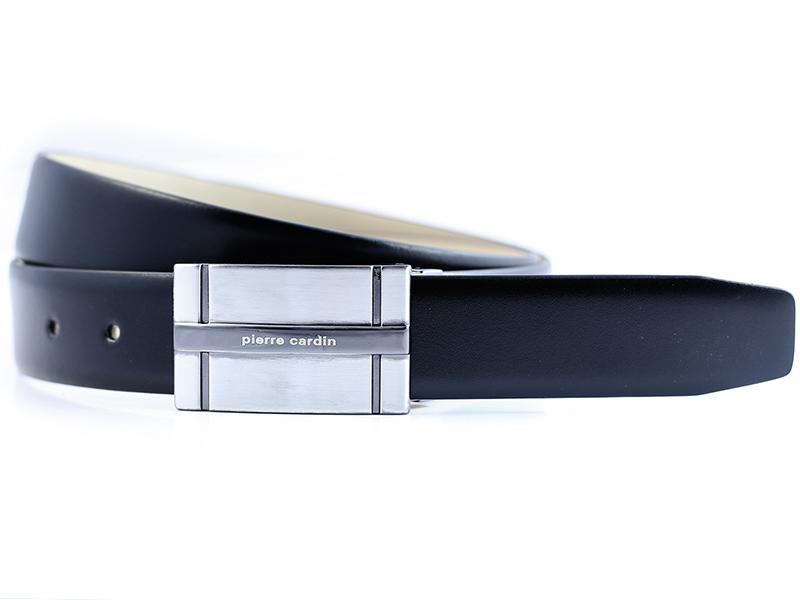 Czarny pasek Pierre Cardin z unikalną klamrą PC22