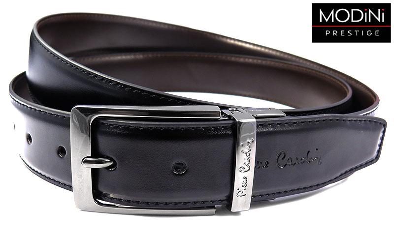 Dwustronny czarno-brązowy pasek Pierre Cardin