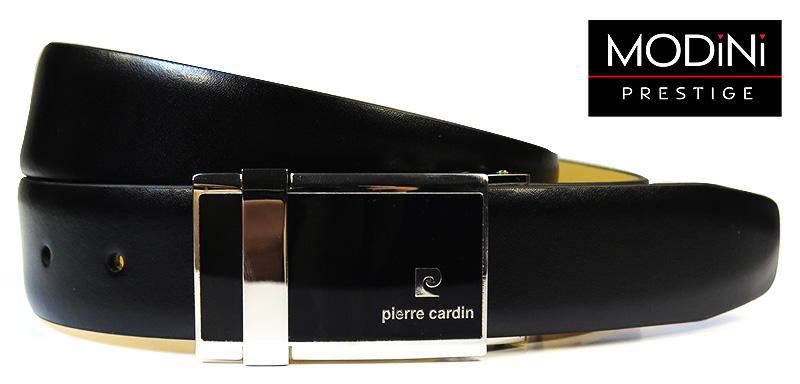 Czarny pasem męski Pierre Cardin ze srebrno-czarną klamrą