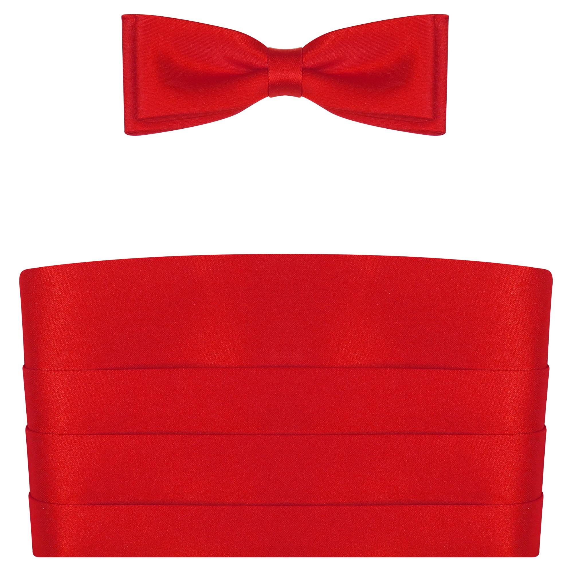 Czerwony pas smokingowy z muchą slim PS01