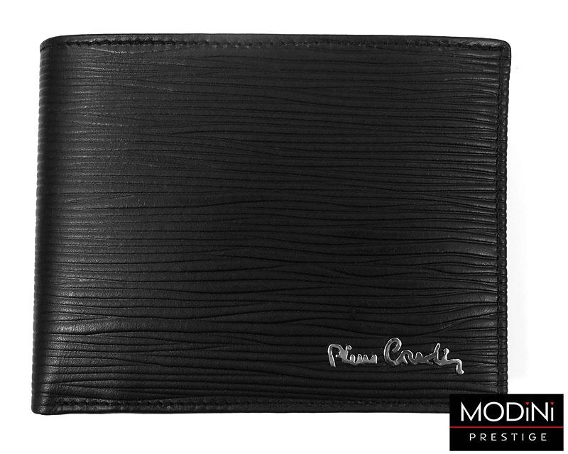 Czarny portfel skórzany ze wzorem PF3