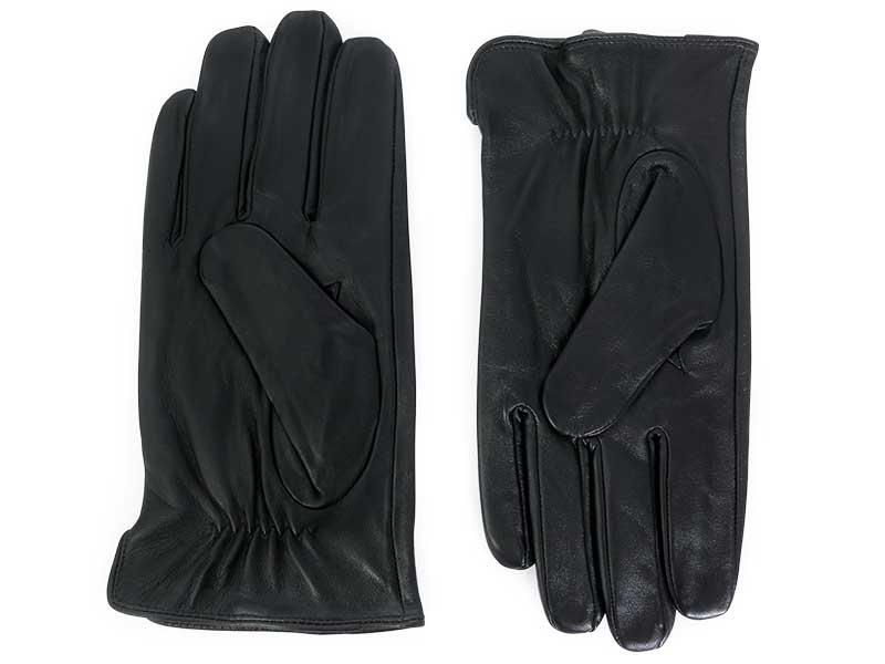 Skórzane czarne rękawiczki męskie R3