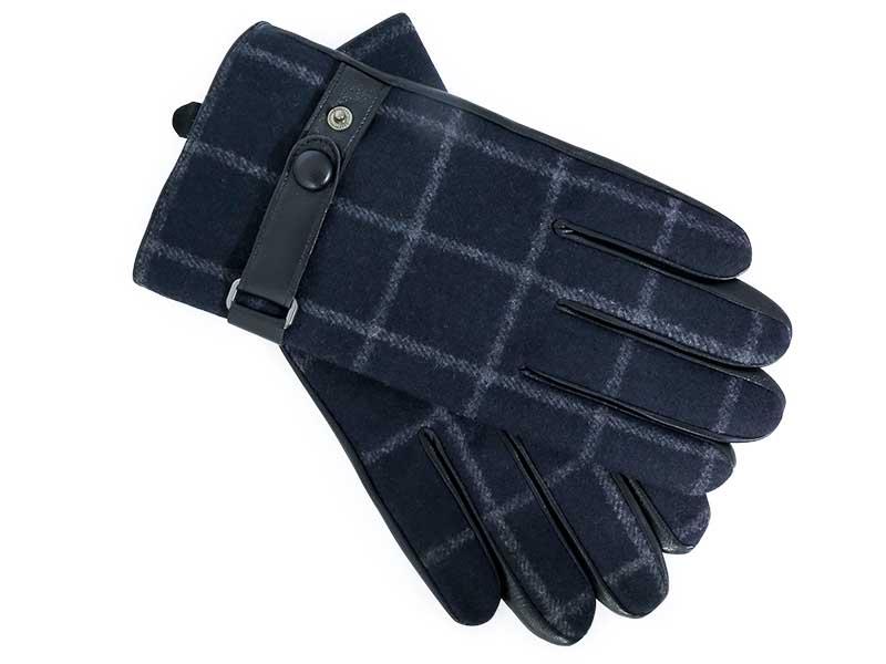 Skórzane granatowe rękawiczki męskie w kratę R5