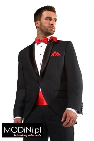 Czarny garnitur smokingowy Malibu