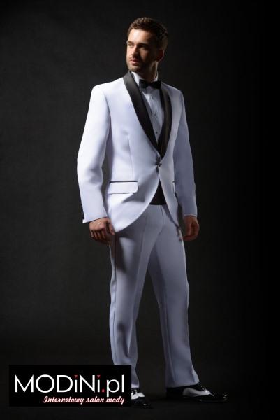 Biały smoking ślubny