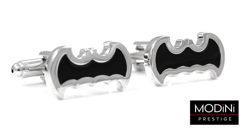 Srebrno-czarne spinki - Batman U94