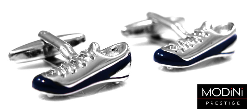 Srebrno-granatowe spinki do mankietów - buty piłkarskie A134