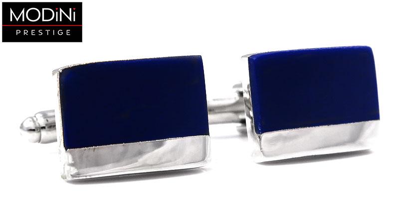 Granatowe spinki do mankietów ze srebrnym paskiem N41