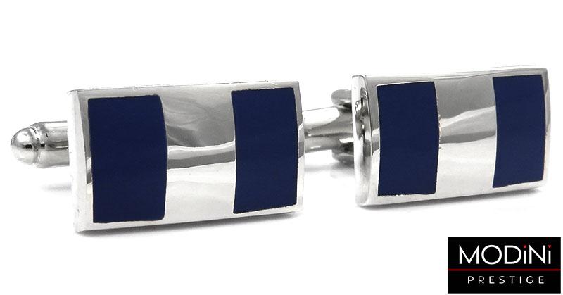 Granatowe spinki do mankietów - srebrny prostokąt N44