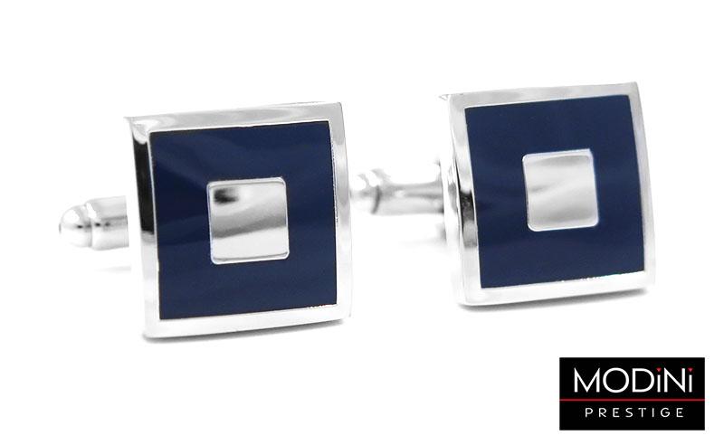 Kwadratowe srebrno-granatowe spinki do mankietów N56