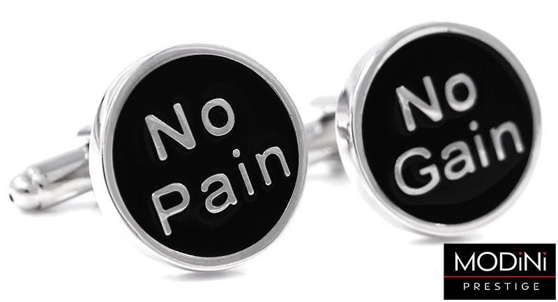 No Pain No Gain - srebrno-czarne spinki do mankietów