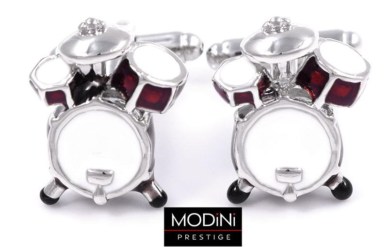 Srebrno-czerwone spinki do mankietów - perkusja
