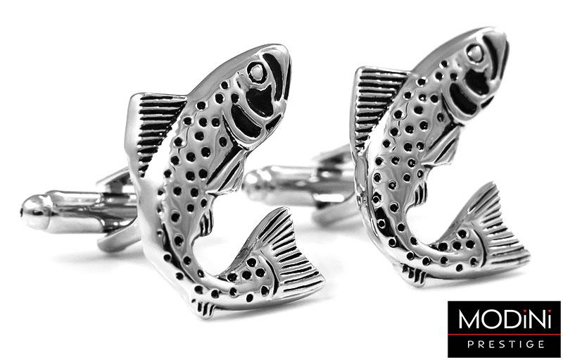 Srebrne spinki do mankietów - ryby U92