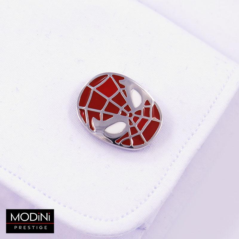 Srebrno-czerwone spinki do mankietów - Spiderman