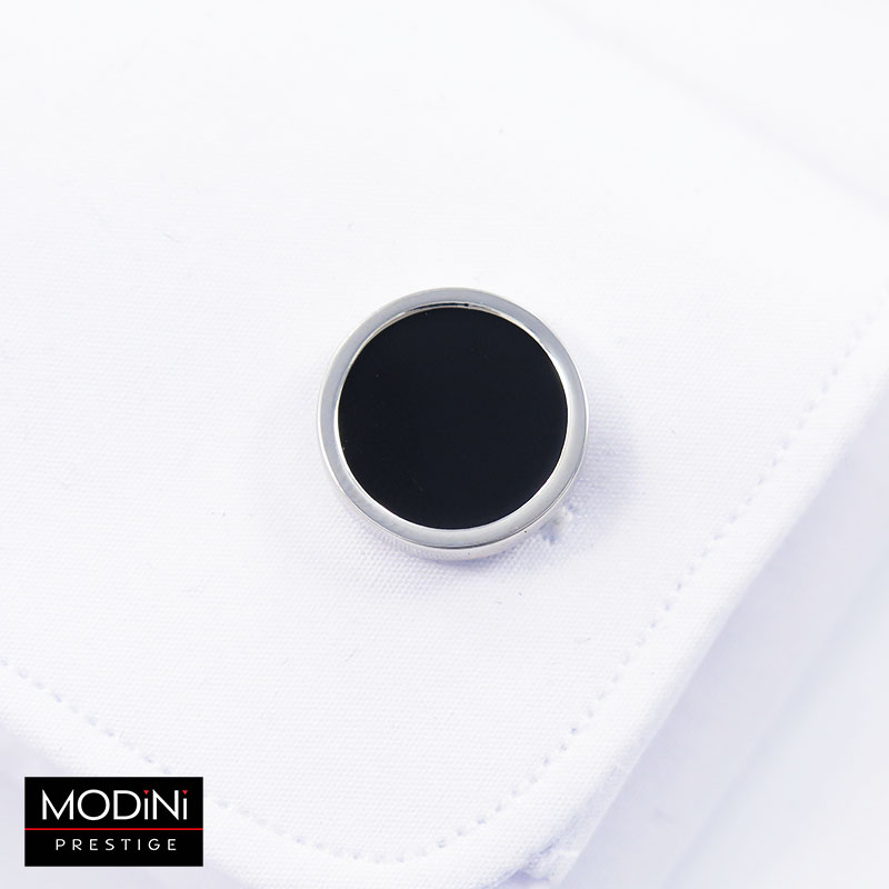 Srebrno-czarne okrągłe spinki do mankietów