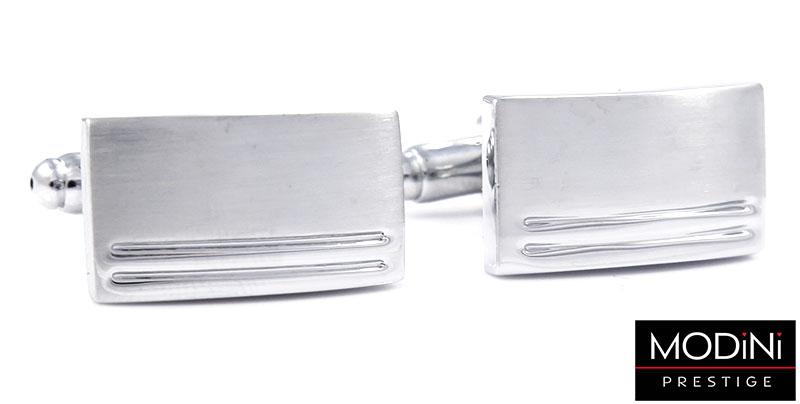 Srebrne spinki do mankietów z dwoma paskami