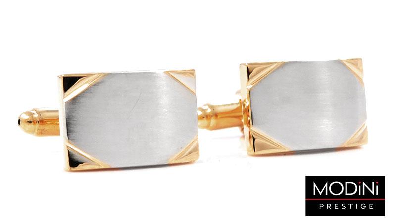 Prostokątne spinki do mankietów ze złotymi narożnikami