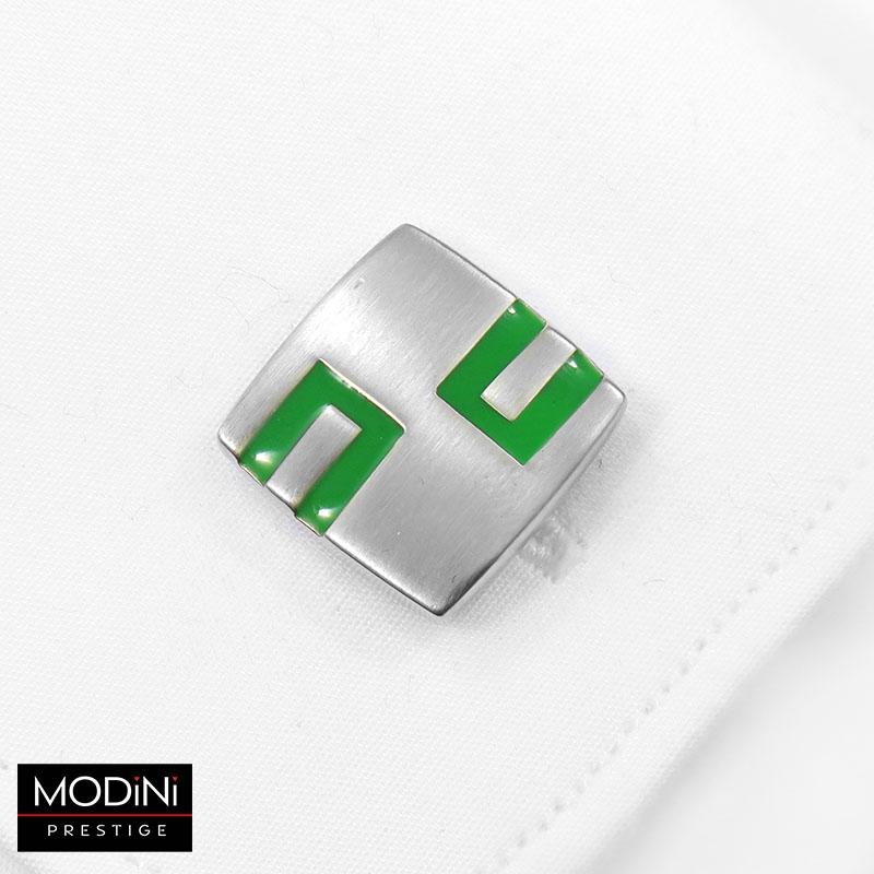 Srebrno-zielone kwadratowe spinki do mankietów M105