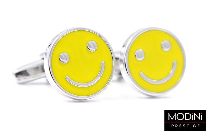 Żółte spinki do mankietów - uśmiech A121