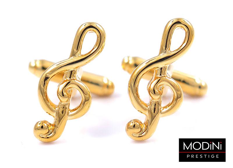 Złote spinki do mankietów - klucze wiolinowe